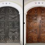Prima e Dopo | Palazzo dei Nobili - Bene Banca - BCC di Bene Vagienna, Portone d'ingresso