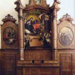 Église de San Bernardino -  Bene Vagienna,  Chœur en bois marqueté du XVIII siècle